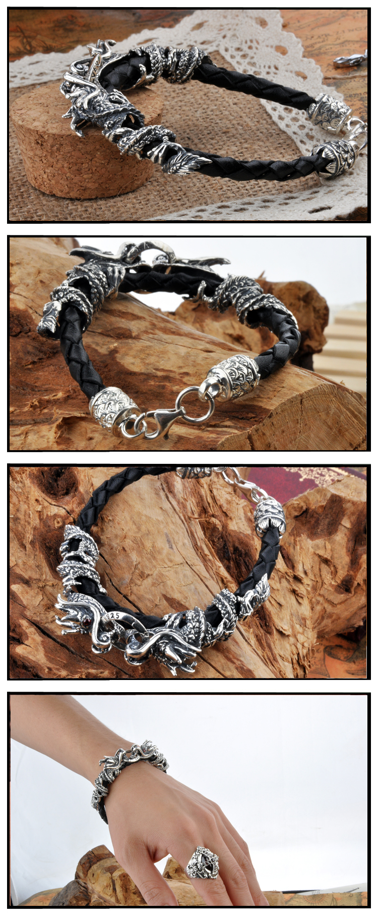 silver dragon leather bracelet