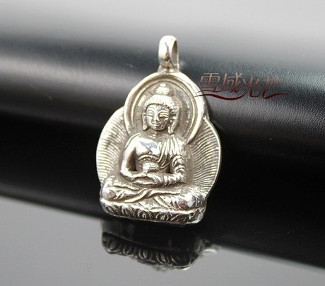 Tibetan sterling silver amitabha buddha amulet pendant tibetan tibetan buddhist sterling silver amitabha buddha amulet pendant this buddha statue pendant was handmade in tibet from fine sterling silver aloadofball Images