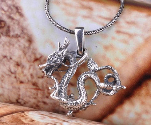 silver dragon necklace