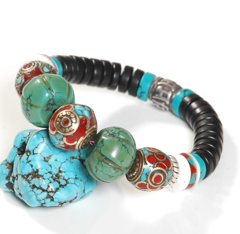 handmade turquoise coral beads bracelet
