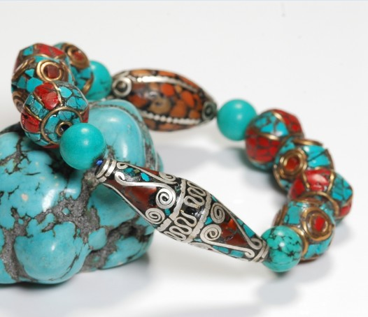 turquoise coral beads bracelet