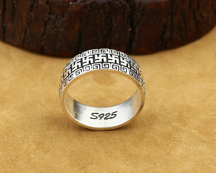 silver om mani padme ring