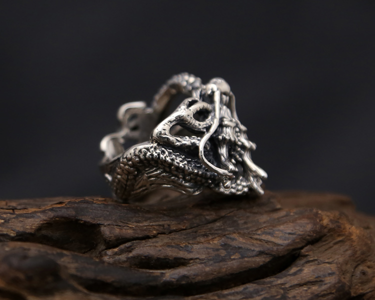 sterling dragon ring